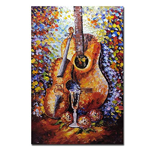 Metuu Oil Paintings,32x48inch Abstract Music & Violin Paintings Modern Home Decor Wall Art Painting Wood Inside Framed Hanging Wall Decoration Abstract Painting Ready to Hang