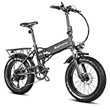 Eahora X5 Pro 750W High Power Version 20' Fat Tires Folding Electric Bike 48V 10.4Ah Battery Ebike for Adults & RV Power Recharge System 7 Speed with Fenders & Rack for Snow Beach Mountain