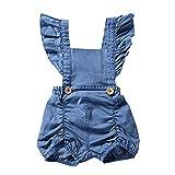 Sunenjoy Combinaison Jumpsuit Bébé Filles Denim Barboteuse sans Manches Volants Bodys Shorts Salopette Bretelles Dos Nu Tenues D'été Vêtements (12-18 Mois, Bleu)