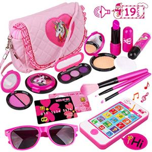 Meland Kids Makeup Kit - Girl Pretend Play Makeup & My First Purse Toy for Toddler Gifts with Pink Princess Purse… 45