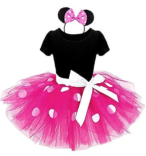 Disfraz de ratoncito - vestido - disfraz - minnie - mono - tutú - tul - diadema - carnaval - halloween - accesorios - niña - talla 100-3 años - idea de regalo cumpleaños de - fucsia