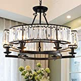 Vintage Crystal Chandelier Black 6 Lights Iron Hanging Ceiling Light Fixture for Farmhouse Decoration Dining Table Living Room