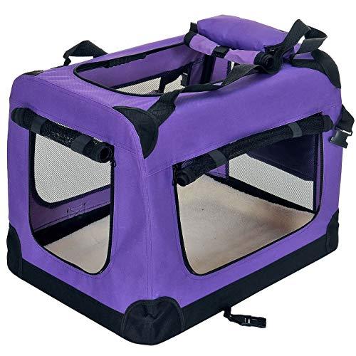 PetViolet Transportbox für Haustiere Hunde Katzen, Faltbar, 60x42x42 cm, Violett