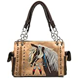 Zelris Dakota Dales Pony Horse Embroidery Mane Western Country Women Conceal Carry CCW Shoulder Handbag Purse (Tan)