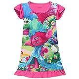 KIDHF Trolls Comfy Loose Fit Pajamas Girls Printed Princess Dress (Red,100/3-4Y)