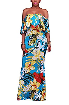 100% Polyester, elastic fabric, comfy to wear. Floral printed, off shoulder design, hawaiian dresses for women, suitable for party, beach and vacation. Wash instruction: Hand wash recommended. Do not bleach. Hang Dry. All colors are mermaid design ex...
