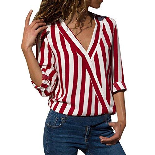 Blusas Mujer, ASHOP Casual Rayas Irregulares Sudaderas Ropa en Oferta Camisetas Manga Larga Tops de Fiesta Abrigos Invierno de Mujer otoño (XL, Rojo)
