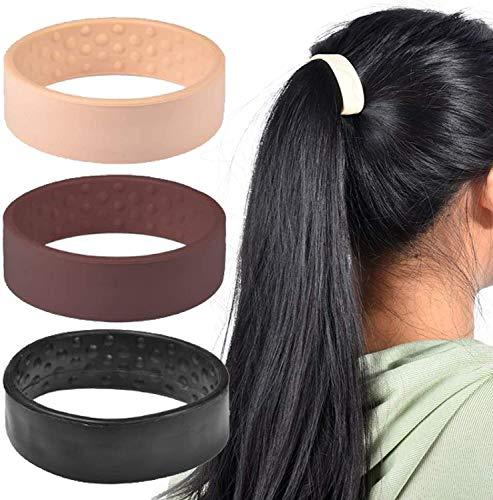 Supporto per coda di cavallo pieghevole in silicone,Fascia elastica per capelli stazionaria pieghevole in silicone,Accessori per capelli da donna con supporto per coda di cavallo (nero)