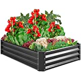 Best Choice Products 4x3x1ft Outdoor Metal Raised Garden Bed Box Vegetable Planter for Growing Fresh Veggies, Flowers, Herbs, and Succulents, Dark Gray