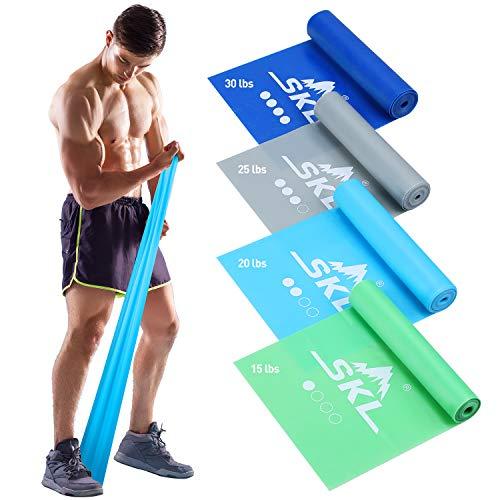 Theraband Set di 4 fasce elastiche per fitness, per yoga, pilates, riabilitazione, fisioterapia, 4 fasce elastiche (Blu verde grigio ciano)