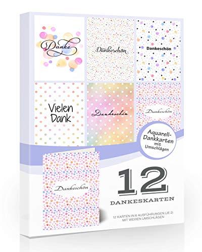 12 moderne Dankeskarte, Dankeskarten, Dankeschön Karten - Faltschachtel-Multipack mit Umschlägen. Aquarell-Dankkarten from Olivia Samuel