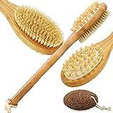 FHC Cepillo para el Cuerpo Mango Largo, Cepillado de la Piel Seca y exfoliación de Lavado Ducha en contra-Celulitis Cepillo de baño de bambú