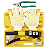 Custom Hydraulic Hand Crimper Tool 10 Ton for Stainless Steel Cable Railing Fittings for 1/8' to 3/16' Cable -Wire Swaging Tool Kit with Stainless Steel Cable Cutter