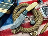 Handmade Knivez Beautiful Damascus Steel Hunting Skinner Knife 8.5' with...