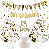 Décorations de Fête Prénatale Or et Blanc Accessoires de Baby Shower avec Bannière de Lettre, Ballons de Confetti, Cake Topper Décoration de Gâteau et Serpentins Or