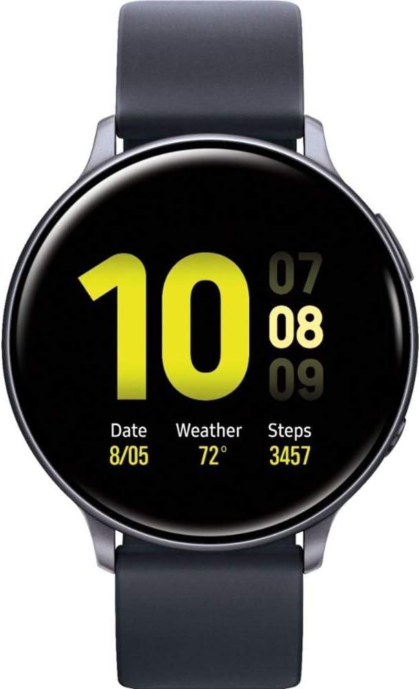 Samsung Galaxy Watch Active2 (Silicon Strap + Aluminum Bezel) Bluetooth - International (Aqua Black, R820-44mm)
