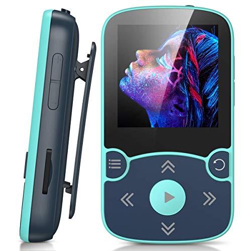 AGPTEK 32Go MP3 Bluetooth 5.0 avec Clip, Lecteur MP3 Baladeur Sport Portable HiFi, Lecteur Musique avec Bouton Volume, Radio FM/Podomètre/Enregistreur Vocal, Externe Jusqu'à 128Go-Bleu