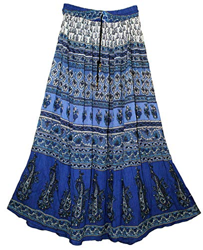 Chng Womens Indian Crinkle Broomstick Gypsy Long Skirt Printed Ethnic Blue