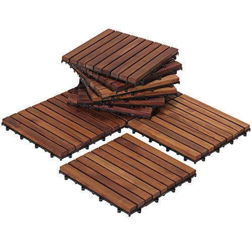 Bare Decor EZ-Floor Interlocking Flooring Tiles in Solid Teak Wood...
