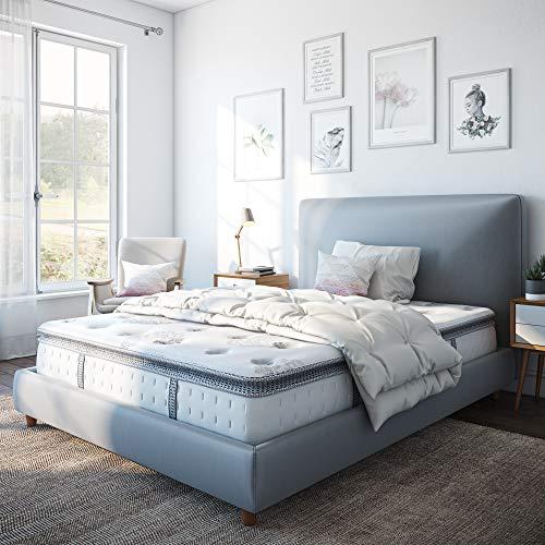Classic Brands Mercer Pillow Top Cool Gel Memory Foam and Innerspring Hybrid 12-Inch Mattress, Queen, White
