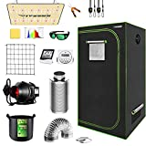 VIVOSUN Grow Tent Complete System, 2x2 Ft. Grow Tent Kit Complete with VS1000 Led Grow Light, 4 Inch 190CFM Inline Fan, Carbon Filter and 8ft Ducting Combo, 24'x24'x48'