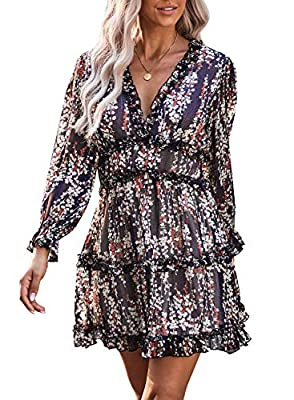 Material:95%Polyester+5%Spandex,soft material,light and comfortable to wear Features:Sexy v neck,backless,long sleeve,floral print,ruffles mini dress Size:Regular US Size,Small(US 4/6)---Medium(US 8/10)---Large(US 12/14)---X-Large(US 16/18) Occassion...