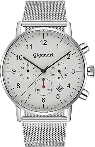 Gigandet Herrenuhr 2 Zeitzonen Minimalism Dualzeit-Uhr Silber Analog mit Milanaise Edelstahlarmband weißes Ziffernblatt Schlichtes Design G21-005