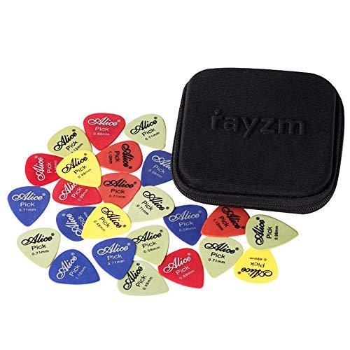 Rayzm ギターピック、カラフル、多種多色、ポリアセタール(POM)製エレキギター/アコースティックギター/ベース用ピック50枚セット、6種厚さ0.49/0.58/0.71/0.89/0.98/1.12 mm、多色ピックをランダムに出荷、収納ケース付き