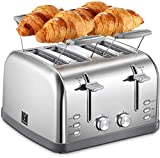 Yabano 4 Slice Toaster, Retro Bagel Toaster with 7 Bread Shade Settings and Warming Rack, 4 Extra...