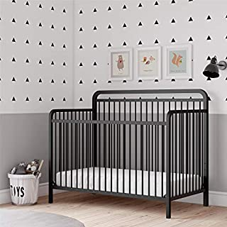 Traditional design 4-in-1 convertible island metal crib Durable metal construction with a non-toxic matte black finish Also available in a champagne gold finish This elegant crib will accommodate a standard size crib mattress (sold separately) JPMA c...