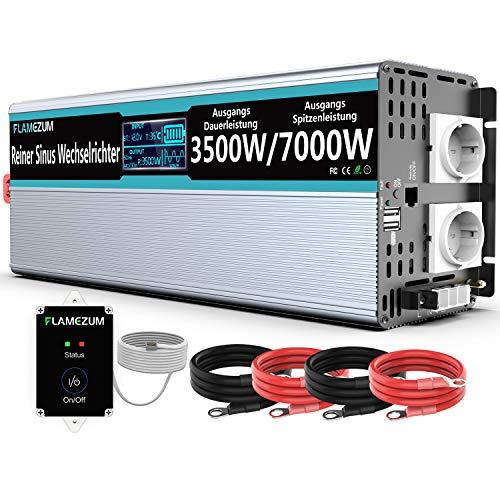 FLAMEZUM 3500W Convertisseur Pur Sinus DC 12V à AC 220V/230V Onduleur avec Télécommande 2 Prise...
