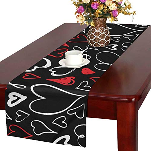 INTERESTPRINT ADEDIY Table Runner Valentine's Day Red White and...