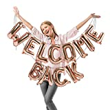 Treasures Gifted Welcome Back Letter Balloons Rose Gold 16 Inch Foil Mylar Balloon Welcome Back Banner Back to Office and Home Back to School Party Decorations Retirement Celebrate Party Supplies