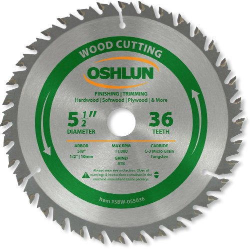 Oshlun SBW-055036 5-1/2-Inch 36 Tooth ATB Finishing and Trimming Saw Blade with 5/8-Inch Arbor (1/2-Inch and 10mm Bushings)