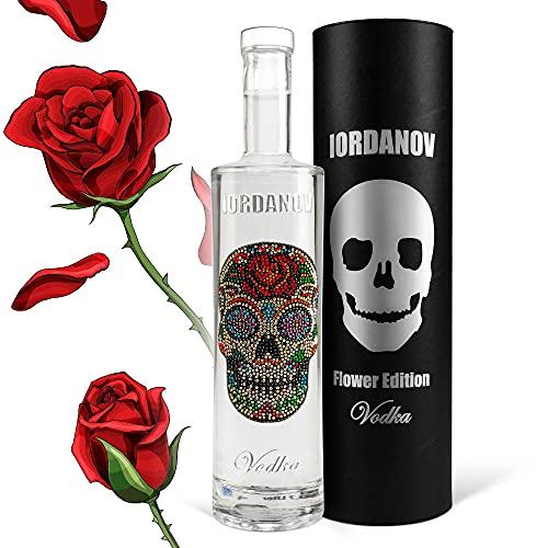 Wodka Geschenkset Flower Skull Luxus Vodka Iordanov (0,7 l) in Geschenkhülse mit Karte