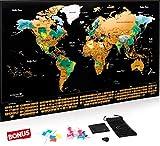 Carte du monde à gratter XXL Escapades, Edition Premium avec les drapeaux de tous les pays. Le...