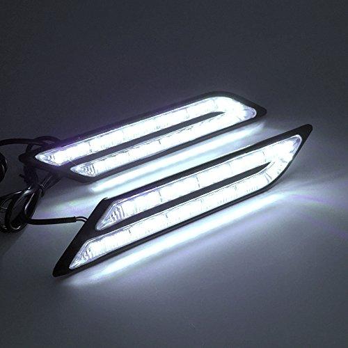 Calistouk 2 x LED DRL Luce Bulb di marcia diurna Sensore di frenata d'auto Sorgente luminosa per Auto Styling Impermeabile Cristallo bianco Blu Luce diurna