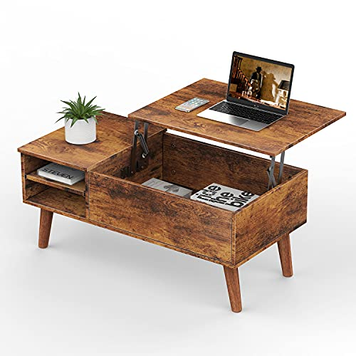 naspaluro Wood Lift Top Coffee Table with Larger Hidden Compartment and Adjustable Storage Shelf Lift Tabletop Dining Table for Home Living Room Office Rustic Oak