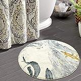 HAOCOO Round Bathroom Rugs 2ft Beige Marble Velvet Bath Mat Non-Slip Door Carpet Soft Luxury Microfiber Machine-Washable Floor Rug for Doormats Tub Shower