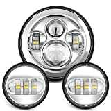 Sunpie 7 Inch Chrome Harley LED Headlight+ 2x 4-1/2' Fog Light Passing Lamps for Harley Davidson Motorcycle