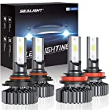 SEALIGHT 9005/HB3 H8/H11 LED Headlight Bulbs, 13000LM High Low Beam, Combo Package CSP Led Chips...