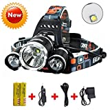Brightest and Best LED Headlamp 10000 Lumen flashlight - IMPROVED LED, Rechargeable 18650 headlight flashlights, Waterproof Hard Hat Light, Bright Head Lights, Running or Camping headlamps … (Silver)