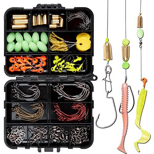 Shaddock - Set di 138 ami da pesca, con set offset, ganci per lombri, jig, barile da pesca, in ottone e rame