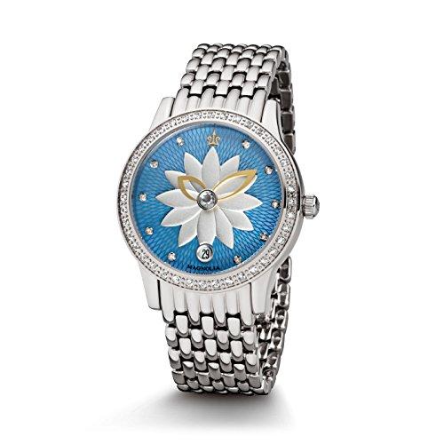 Kronsegler Diamant Automatik Damenuhr Magnolia Stahl-blau