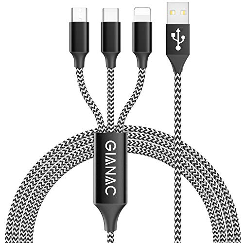 GIANAC 3 en 1 Multi Cable de Carga, 1.5M Nylon Multi USB Cargador Cable Múltiples Micro USB Tipo C para Android Samsung Galaxy S9/ S8/ S7/ A5, Huawei P20, Honor, Kindle, LG, Sony