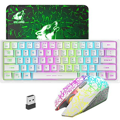 2,4G Wireless Teclado de Ratón para Gamers 3000mAh Tipo-C RGB Recargable Anti-Ghosting Mini Mecanical Sensación Teclado 2400DPI Silencioso Mouse