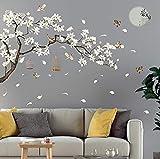 Stickers Muraux fleur cerisier et oiseau sur la branche stickers chambre adulte fleurs de cerisier style vintage DIY SIZE 187 x 128 cm stickers tete de lit ado Vinyle Mural Art Stickers