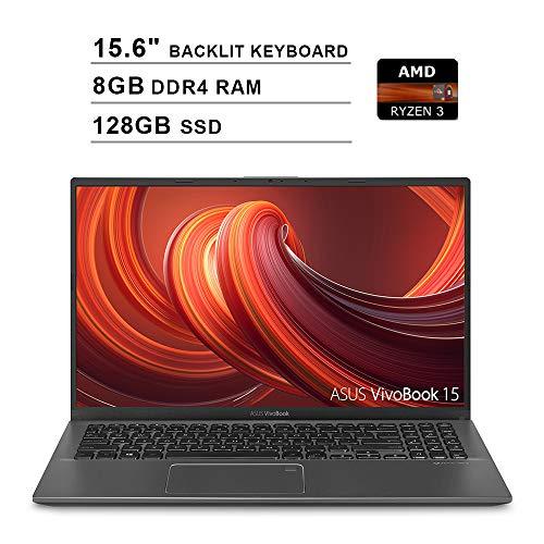 2020 ASUS VivoBook 15 15.6 Inch FHD 1080P Laptop (AMD Ryzen 3 3200U up to 3.5GHz, 8GB DDR4 RAM, 128GB SSD, AMD Radeon Vega 3, Backlit Keyboard, FP Reader, WiFi, Bluetooth, HDMI, Windows 10) (Grey)