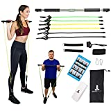 Spirited Namaste - Portable Pilates/Yoga Body Bar & Stick Home Toning Workout Kit with 3 Resistance Bands kit: Accessories, Suspension Exercise Workout Bands Trainer with Foot Strap & Pilate Gym Band