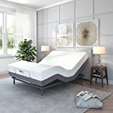 Classic Brands Comfort Upholstered Adjustable Bed Base with Massage, Wireless Remote, Three Leg Heights, and USB Ports-Ergonomic, Queen, White